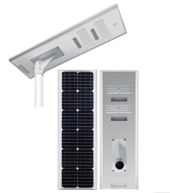 Aluminium Alloy Integrated Led Solar Street 60W 6000 Lumens Human Body Induction