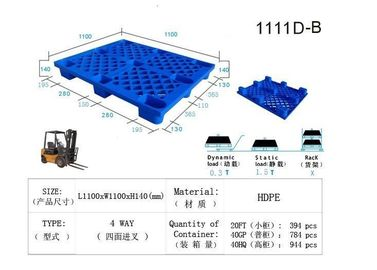 China Rackable Euro HDPE Plastic Skids Pallets , Warehouse Plastic Floor Pallet factory